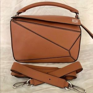 Loewe Small Puzzle Bag Tan w/ 4 feet & wide strap